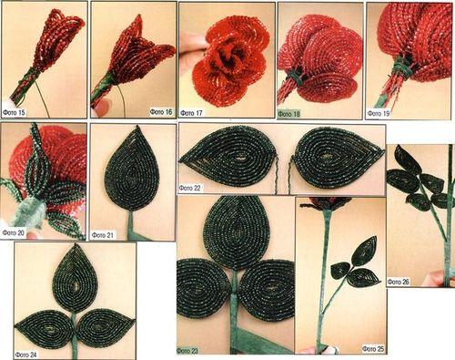 Описание плетения розы из бисера для начинающих